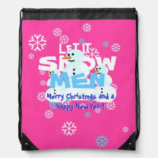 Girly Let It Snow Men Snowmen Tacky Christmas Backpacks