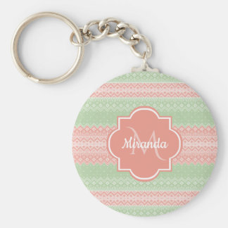Girly Light Green Knit Coral Pink Stripes and Name Keychain