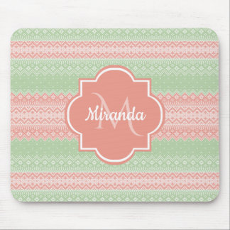 Girly Light Green Knit Coral Pink Stripes and Name Mouse Pad