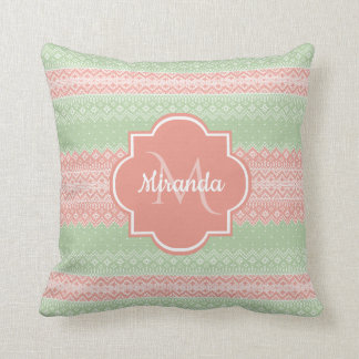 Girly Light Green Knit Coral Pink Stripes and Name Throw Pillow