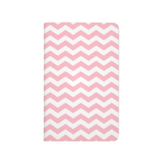 Girly Light Pink and White Chevron Zigzag Journal