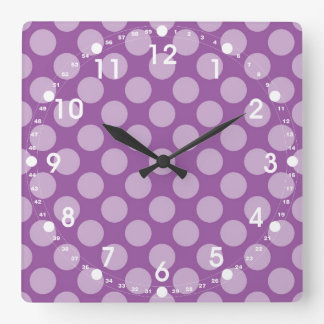 Girly Light Purple Polka Dots on Purple Cute Gifts Square Wall Clock