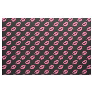 Girly Lips Hot Pink And Black Kiss Pattern Fabric