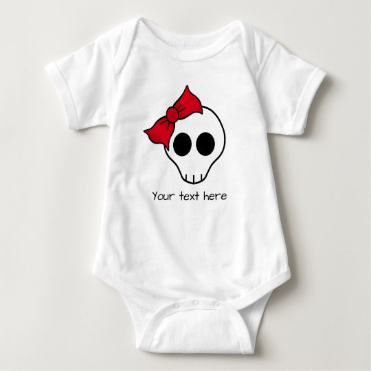 Girly little skull with red bow baby bodysuit