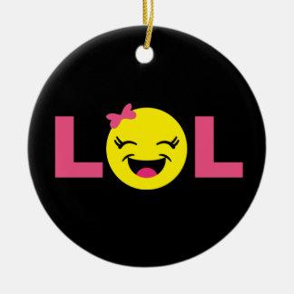Girly LOL Emoji Ceramic Ornament