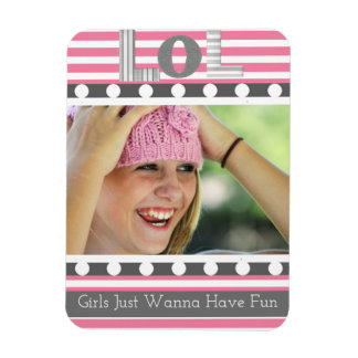 "Girly ""LOL"" with Photo Rectangular Photo Magnet"