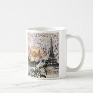 girly lotus flower vintage paris eiffel tower coffee mugs