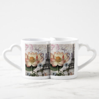 girly lotus flower vintage paris eiffel tower lovers mug set