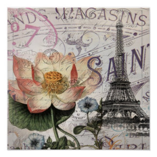girly lotus flower vintage paris eiffel tower posters
