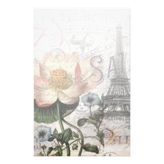 girly lotus flower vintage paris eiffel tower stationery