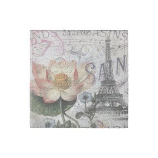 girly lotus flower vintage paris eiffel tower stone magnets