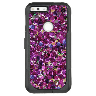 Girly Magenta Pink Faux Sequins OtterBox Commuter Google Pixel XL Case