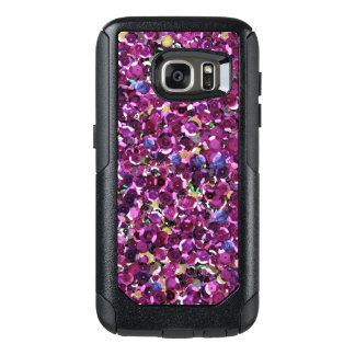 Girly Magenta Pink Faux Sequins OtterBox Samsung Galaxy S7 Case