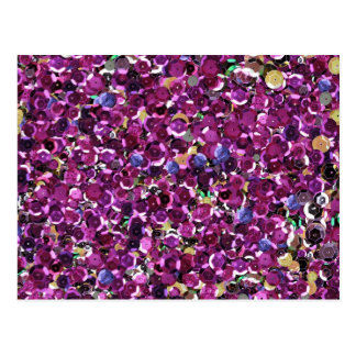 Girly Magenta Pink Faux Sequins Postcard
