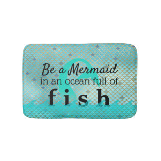 Girly Mermaid Quote Teal Gold Bath Mat