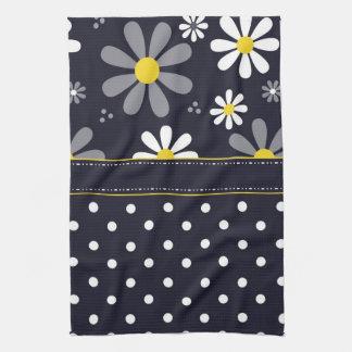 Girly Mod Daisies and Polka Dots Kitchen Towel