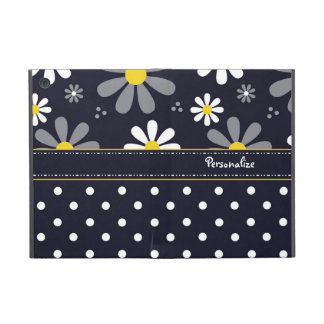 Girly Mod Daisies and Polka Dots With Name iPad Mini Covers