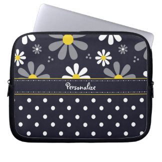 Girly Mod Daisies and Polka Dots With Name Laptop Sleeves