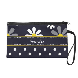 Girly Mod Daisies and Polka Dots With Name Wristlet