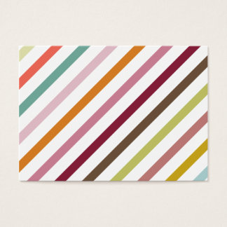 Girly Mod Pink Purple Green Orange Stripes Pattern Business Card