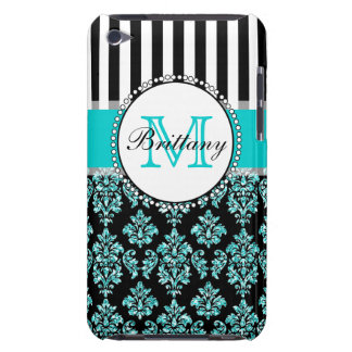 Girly Modern Aqua Teal Glitter Damask Personalized Barely There iPod Cover