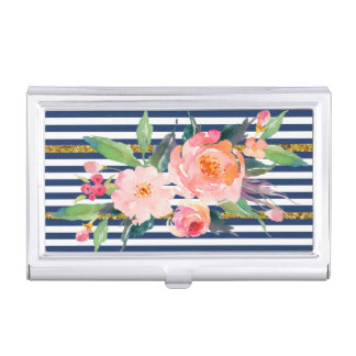 Girly Modern Chic Flowers -Stripes Business Card Holder