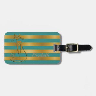 Girly Modern Chic,Glittery Cat -Stripes Luggage Tag