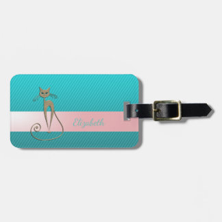Girly Modern Chic , Stripes, Cat Luggage Tag