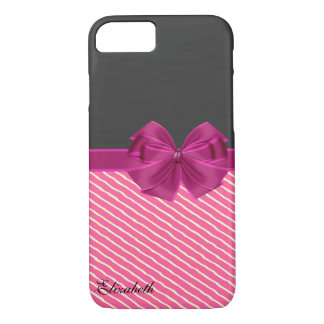 Girly Modern Chic Stripes-Personalized iPhone 8/7 Case