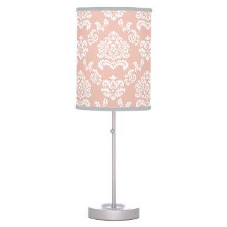 Girly Modern Damask Peach & White Pattern Table Lamp