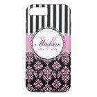 Girly Modern Pink Glitter Damask Personalized Case-Mate iPhone Case