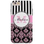 Girly Modern Pink Glitter Damask Personalized Tough iPhone 6 Plus Case
