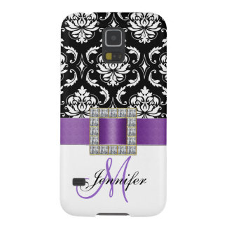 Girly Modern Purple Ribbon Black Damask Galaxy S5 Cover