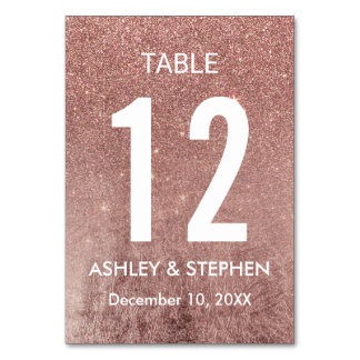 Girly Modern Rose Gold Glitter Foil Table Numbers