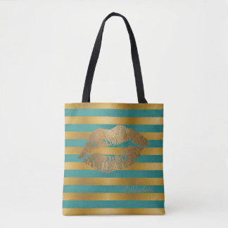 Girly Modern  Stripes,Glittery Lips,Personalized Tote Bag