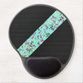 Girly Modern Trendy Hipster Aqua Floral Stripe Gel Mouse Pad