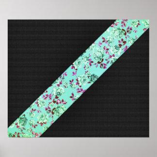 Girly Modern Trendy Hipster Aqua Floral Stripe Print