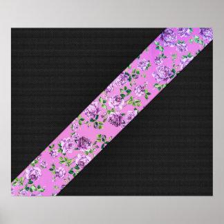 Girly Modern Trendy Hipster Pink Floral Stripe Print