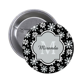 Girly Monogram Black White Daisy Flowers With Name 2 Inch Round Button
