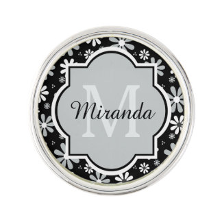 Girly Monogram Black White Daisy Flowers With Name Lapel Pin