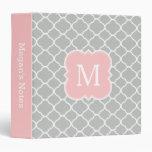 Girly Monogram Blush Pink Grey School Binder