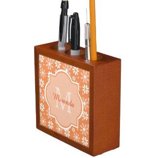 Girly Monogram Cute Orange Daisy Flowers and Name Desk Organizer