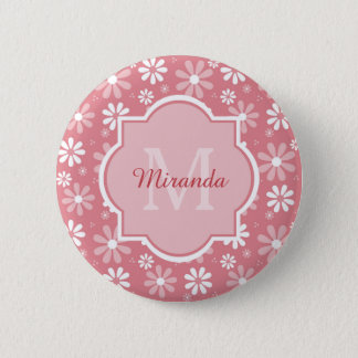 Girly Monogram Cute Pink Daisy Flowers With Name 2 Inch Round Button
