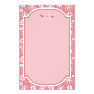 Girly Monogram Cute Pink Daisy Flowers With Name Stationery
