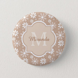 Girly Monogram Cute Tan Daisy Flowers and Name 2 Inch Round Button