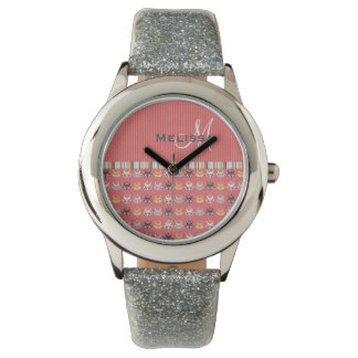 Girly Monogram Floral Pattern on Coral Red Watch