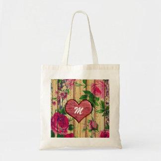 Girly Monogram Floral Print on Wood