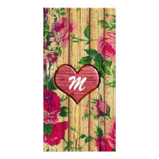 Girly Monogram Floral Print on Wood Picture Card