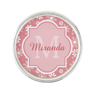 Girly Monogram Light Pink Daisy Flowers and Name Lapel Pin