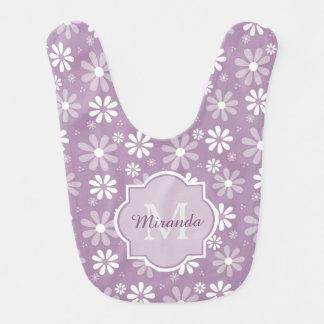 Girly Monogram Light Purple Daisy Flower Baby Name Bib